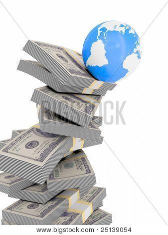 World falling off money stack