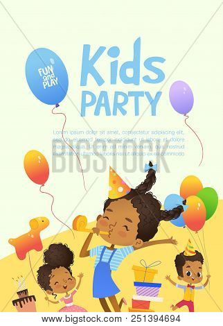 Joyous African-american Kids In Birthday Hats And Balloons Happily Jump. Cute Rabbits, A Bunch Of Pr