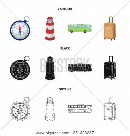 Vacation, Travel, Lighthouse, Compass .rest And Travel Set Collection Icons In Cartoon, Black, Outli