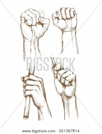 Hand-drawn Set Of Human Hands.  Engraving Art. Hand Brushes, Gestures, Clenched Fist For Banner And
