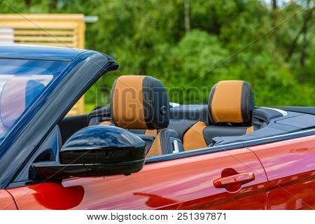 Modern Luxury Car Inside. Interior Of Prestige Modern Cabriolet Car. Comfortable Leather Seats. Whit