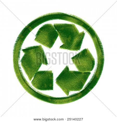 Recycling symbol made of realistic green grass