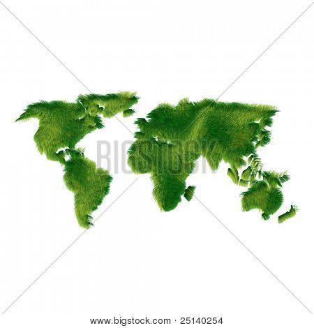 World map made of grass