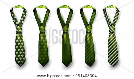 Realistic vector silk satin stripe tie set. Male necktie for business and formal clothing accessory attire, men fashion style trend. knot teal red purple pink yellow green navy blue. Pattern polka dot and striped. poster