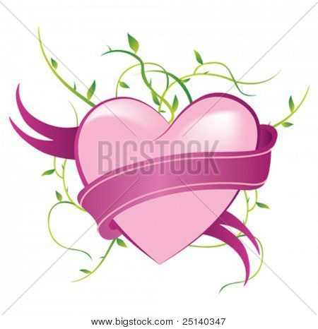 Pink Heart with a ribbon around it
