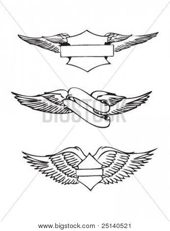 Set of 3 Emblems illustrating wings