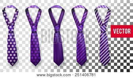 Realistic Vector Silk Satin Stripe Tie Set. Male Necktie For Business And Formal Clothing Accessory