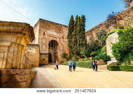 Granada, Spain, April 06, 2018: Gate Of Justice (puerta De La Justicia), Gate To Alhambra Complex In