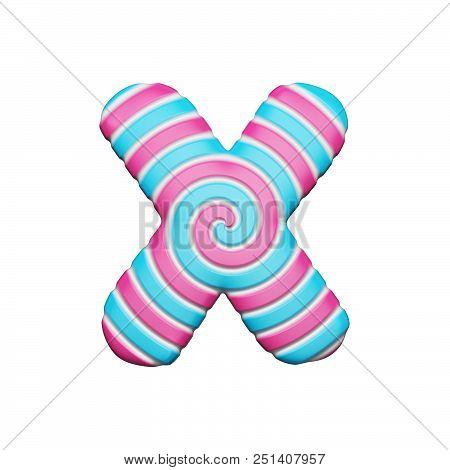 Sweet alphabet letter X. Christmas font made of pink and blue spiral striped lollipop. 3D render isolated on white background. Yummy confection from delicious lollypop caramel. poster