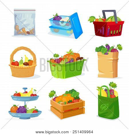 Vegetables And Fruits Different Storage In The House And In The Store. Eco Package With Shopping Fro