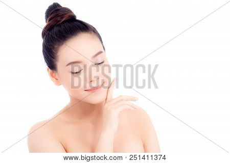 Portrait Of Beautiful Woman Asian Makeup Of Cosmetic, Girl Hand Touch Cheek And Smile Attractive, Fa