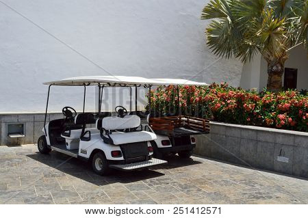White Electric Golf Cars Are Parked In Small Electric Vehicles With Awnings From The Sun In A Warm T