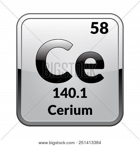 Cerium symbol vector photo free trial bigstock cerium symbolemical element of the periodic table on a glossy white background in a silver framector illustration urtaz Gallery
