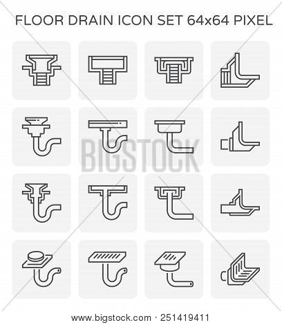 Floor Drain And Drainage Equipment Vector Icon Set, 64x64 Perfect Pixel And Editable Stroke.