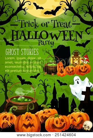 Halloween Holiday Trick Or Treat Pumpkin Banner For Horror Night Party Invitation. Spooky Ghost, Lan