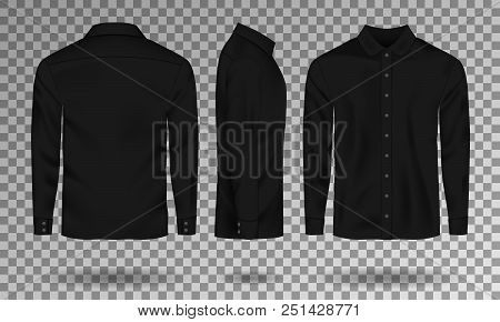 Blank Male Black Shirt Template. Realistic Men Shirt With Long Sleeves Front, Side, Back View. Casua