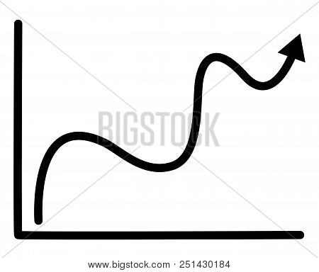 Growth Graph Icon On White Background. Flat Style. Growth Sign. Growth Graph For Your Web Site Desig
