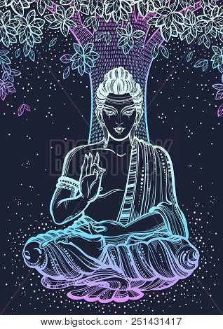 Sitting Buddha Over The Bodhi Tree. Graphic High-quality Vector Illustration In Neon Colors. Spiritu