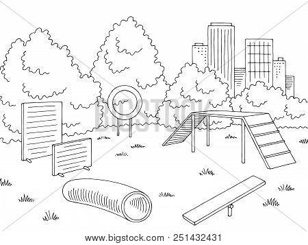 Dog Park Graphic Black White Landscape Sketch Illustration Vector