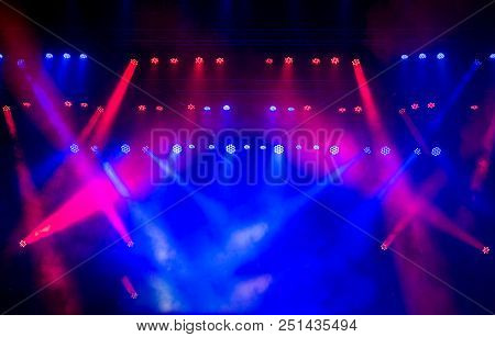 Lights Show. Lazer Show. Night Club Dj Party People Enjoy Of Music Dancing Sound With Colorful Light