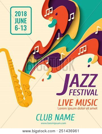 Jazz Festival - Music Paper Cut Style Poster For Jazz Festival Or Night Blues Retro Party With Saxop