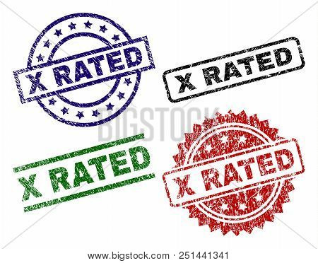 X Rated Seal Prints With Corroded Style. Black, Green, Red, Blue Vector Rubber Prints Of X Rated Lab