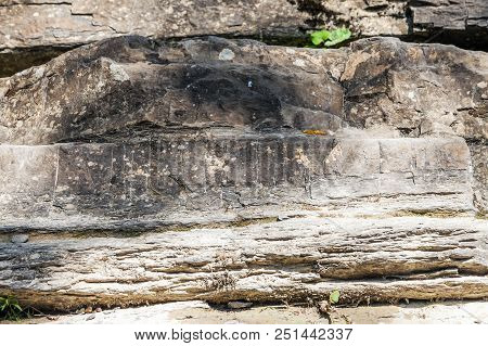 Patterns And Textures Of Stone Rocks In Nature. Photo Shows A Stone Texture. The Texture Of The Ston
