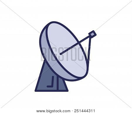 Satellite Dish Antena Icon. Line Colored Vector Illustration. Isolated On White Background.