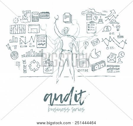 Business Concept, Auditing, Man Standing In Front Of Wall Full Of Charts And Notes, Vector Illustrat