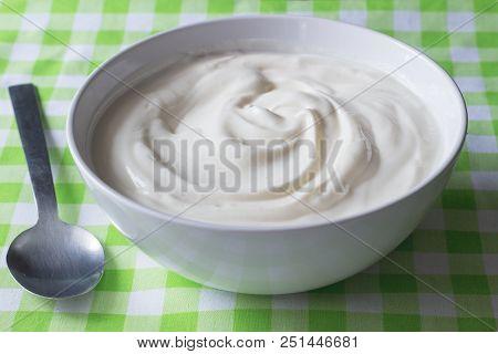 Natural Plain White Greek Yoghurt In Bowl Closeup - Yogurt Background