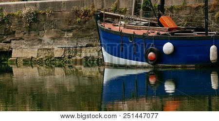 Luxury Yachts Moored In Marina. Boats Reflected In The Water Of Honfleur Harbor, Upper Normandy, Fra
