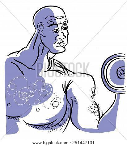 Old Boldybuilder.  Illustration Of Bodybuilder Bald Man Holding Dumbbell.