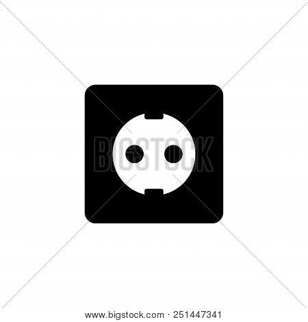 Power Socket. Flat Vector Icon Illustration. Simple Black Symbol On White Background. Power Socket S