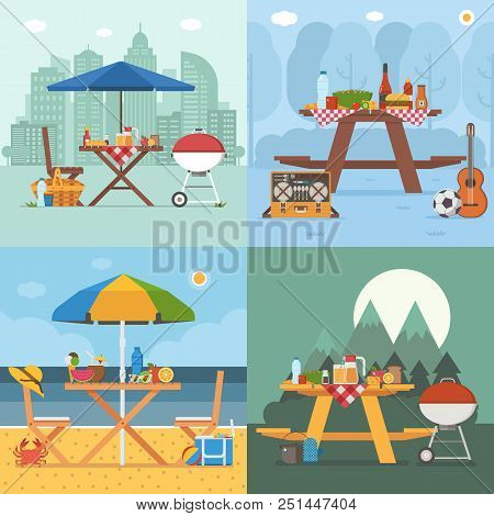 Picnic Table And Outing Appliances On Different Backgrounds. Barbecue Party Concepts With Bbq On Pub