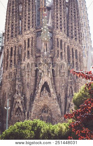 Barcelona - July 19: View Of The Famous Sagrada Familia In Barcelona, Spain On July 19, 2018. Sagrad