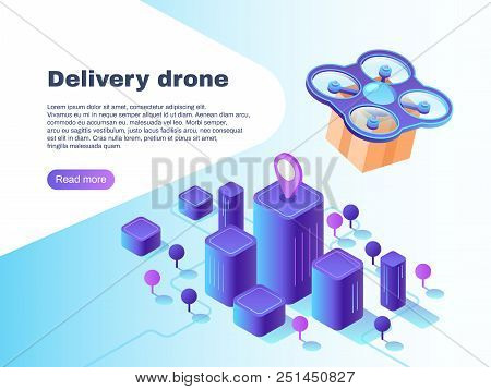 Modern futuristic delivery system with unmanned drone air vehicle. Flight copter delivering parcel future aircraft autonomous truck warehouse robot innovation vector concept illustration poster