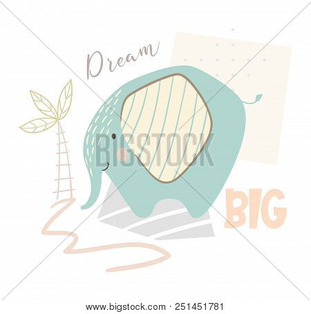 Elephant Baby Cute Print. Sweet Zoo Animal. Mother And Child Fashion Child Vector. Cool African Safa