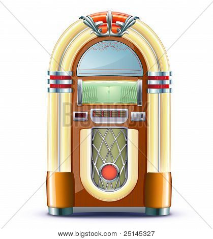 Vector illustration of retro style detailed classic juke box. poster