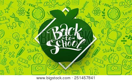 Back To School Horizontal Banner With Hand Drawn Doodle Pattern And Calligraphy Logo On Apple Chalkb