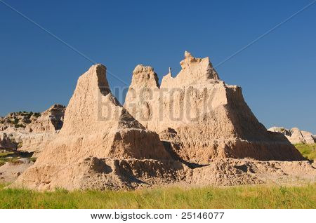 Badlands Formation In The Summer Heat