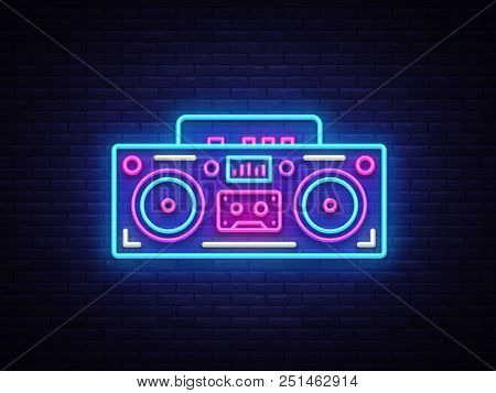 Tape Recorder Neon Signboard Vector. Retro Music Neon Glowing Symbol, Retro Style 80-90s Light Banne