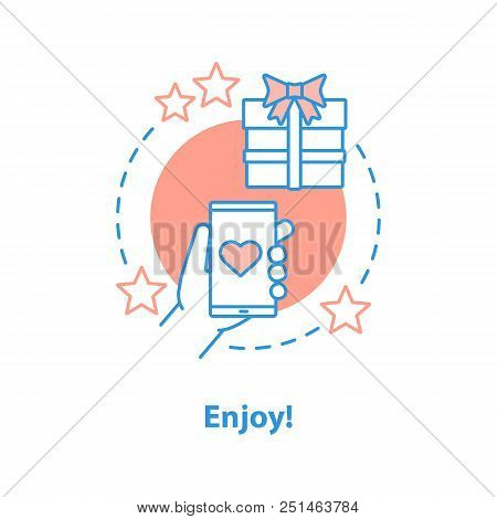 Online Shopping Enjoyment Concept Icon. Excellent Service Idea Thin Line Illustration. Good Buy. Vec