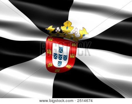 Flag of Ceuta computer generated illustration with silky appearance and waves poster