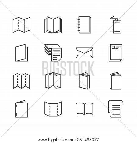 Brochure Flat Line Icons. Business Identity Illustrations - Letterhead, Booklet, Flyer, Leaflet, Cor