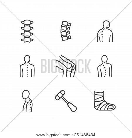 Spine, backbone line icons. Orthopedics clinic, medical rehab, back trauma, broken bone, posture correction, scoliosis. Health care thin linear hospital signs. Pixel perfect 64x64. Editable Strokes poster