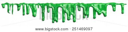 Green slime like paint dripping isolated on white