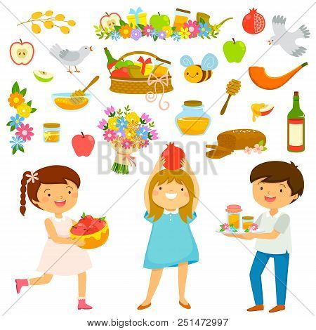Set Of Kids And Icons For Rosh Hashana