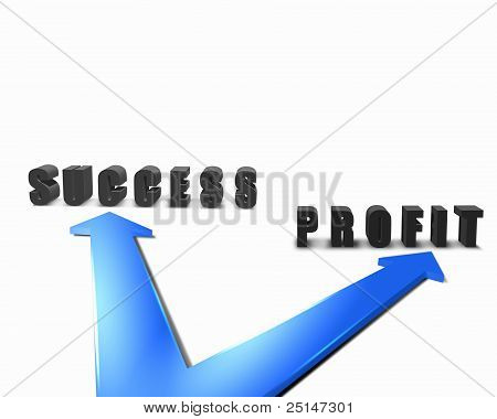 Two colour arrows with bussiness words