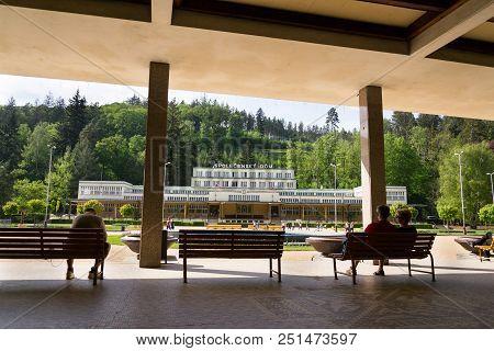 Luhacovice, Czech Republic - April 30 2018: Spolecensky Dum - Cultural Center House In Spa Town On A