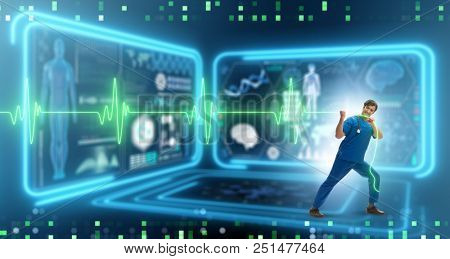 Cardiologist in telemedicine concept with heart beat